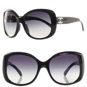 CHANEL 5183 Oversized Logo Sunglasses Black